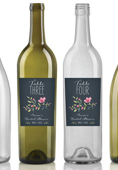 Custom Table Number Wine Labels - Baby Shower, Bridal Shower, Wedding (Personalized with Date)