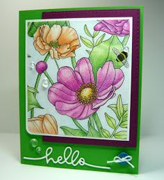 Welcome back! I've had some fun coloring one of the lovely floral scenes from the Inside the Lines designer series paper that is avai...