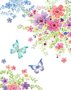 Liz Yee - Butterfly With Floral 3 Butterfly Wallpaper, Butterfly Art, Butterflies, Art And Illustration, Art Floral, Watercolor Flowers, Watercolor Paintings, Collage Background, Decoupage Vintage