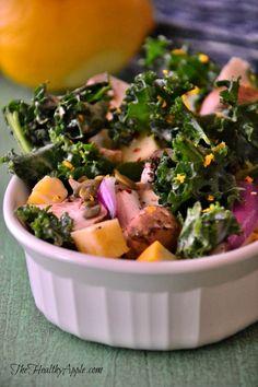 Mushroom Kale Salad with Orange Dill Dressing | TheHealthyApple.com | #glutenfree #recipe #healthy #dairyfree #vegan