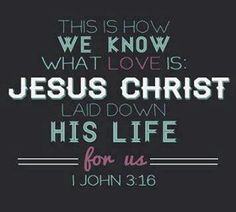 Hereby perceive we the love of God , because he laid down his life for us: and we ought to lay down our lives for the brethren.  ~1 John 3:16 KJVA