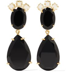 Bounkit - Gold-tone, Quartz And Onyx Earrings ($192) ❤ liked on Polyvore featuring jewelry, earrings, black, quartz earrings, lily earrings, earrings jewellery, earring jewelry and gold colored earrings