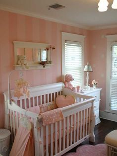 PINK BABY ROOM - traditional - kids - charlotte - by Stratton Design Group.not pink but gray and white Baby Room Design, Baby Room Decor, Nursery Room, Girl Nursery, Girls Bedroom, Wall Design, Couch Design, Bedrooms, Polka Dot Walls