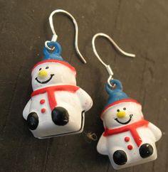 Snowman Earrings Handmade Jingle Bells Christmas Holiday 925 Sterling Pierced  #EverydayGlitz #DropDangle