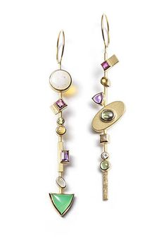 Janis Kerman: Assymetrical Gemstone Earrings 18k yellow gold earrings with ruby, yellow tourmaline, amethyst, zircon, industrial diamond, peridot, tourmaline opal, garnet, citrine, aquamarine, chrysoprase, and diamond.