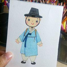 귀요미 #선비님 1 #illustration #watercolor #character #사람