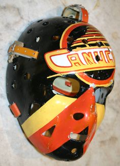 And the logo wasn't the ugliest part of this design Nhl Hockey Jerseys, Hockey Games, Football Helmets, Canada Hockey, Goalie Mask, Different Sports, Masked Man, Vancouver Canucks, Masks Art