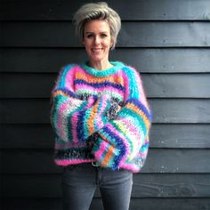 Shop the latest MYPZ collection online of handmade mohair sweaters - knitwear - ready to wear. All our sweaters are hand knitted in The Netherlands and ready to wear. Mohair Yarn, Mohair Sweater, Rainbow Sweater, Hand Knitted Sweaters, Bunt, Baby Alpaca, Hand Knitting, Knitwear, Knitting Patterns