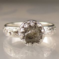 Rough Diamond Ring in Sterling 2CTS by artifactum on Etsy