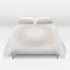 Beige White Mandala Duvet Cover