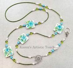 Blue Spring Flowers Glass Beaded Lanyard ID Badge Holder Beaded Jewelry Designs, Necklace Designs, Handmade Jewelry, Beaded Crafts, Jewelry Crafts, Blue Spring Flowers, Beaded Lanyards, Id Badge Holders, Engraved Rings
