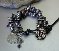 Natural  Peacock Pearl Bracelet with Mixed Silver Elements and Charms- Modern Black Leather and Button Closure on Etsy, $94.00