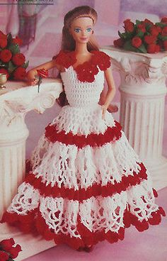 Crochet-Pattern-Only-Barbie-039-s-Valentine-039-s-Day-Robe-Rouge-Fleurs-Fashion-Doll
