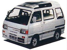 In May 1986 came the 6th generation Daihatsu Hijet and Atrai with the 3rd side window extended downwards. The wheelbase was now 181 cm. Engines and body styles remained the same with a supercharger available in the truck, and the edition of a 4-door (sliding door) double cab (high-roof) pickup, called Deck Van (deck 89 cm long, 127 cm wide); this vehicle was also available as Atrai Deck.