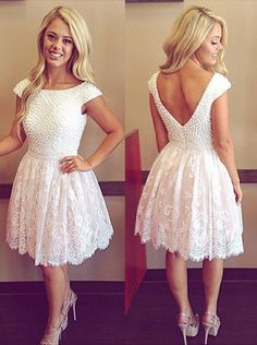 2016 homecoming dress,white homecoming dress,short homecoming dress,lace…