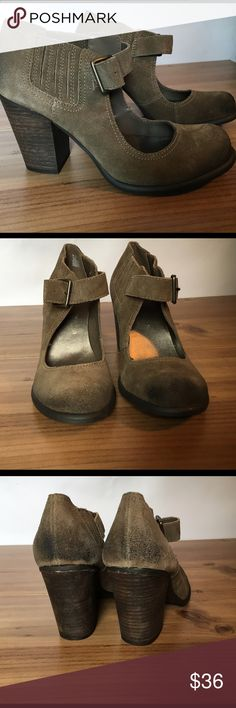 "Mary Jane style bootie shoes Adorable distressed suede bootie shoes from Mia. 3 3/4"" stacked chunky heels. Taupe color. Excellent condition with no sign of wear. Please note there is a distressing on the toe and heel area which shows as a darkened area. Mia Shoes Ankle Boots & Booties"
