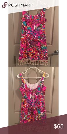 Lilly Pulitzer Eaton Shift Tassel Dress Beautifully patterned Lilly Shift Dress; great for spring and summer! Lilly Pulitzer Dresses