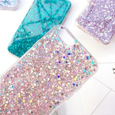 TPU material, glitter sequins. The surface is covered with a smooth glue so you can't touch the flash powder. This case is for iPhone 7, 7 Plus, 6, 6S Plus.  Product Feature: 1. Glitter Sequins 2. 5 Color for you to choose