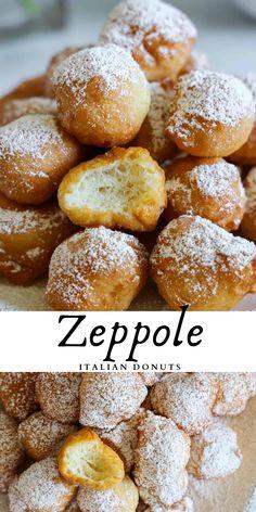 Fried Dough Recipes, Donut Recipes, Gourmet Recipes, Dessert Recipes, Cooking Recipes, Yummy Recipes, Zeppole Recipe, Italian Donuts, Donut Calories