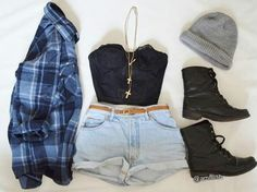 (1) summer outfit | Tumblr not the boots tho...I like the plaid shirt!