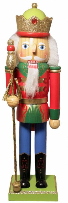 Red King with Staff Wooden Christmas Nutcracker 14 Inch Decoration New