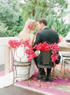 bougainvillea + wire chairs // Rue Magazine Summer Wedding Inspiration