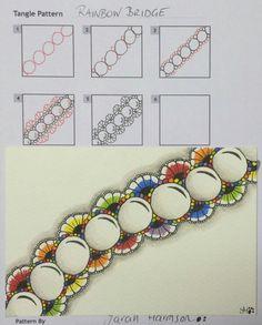 Rainbow Bridge. Border or line based tangle pattern.