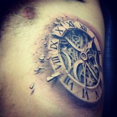 Amazing 3D Biomechanical Watch Tattoo On Rib Side