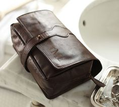 Saddle Leather Hanging Toiletry Case | Pottery Barn