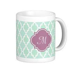 Mint and Plum Moroccan Monogram Coffee Mug Monogram Coffee Mug, Coffee Mugs, Create Your Own Mug, Wedding Mugs, Cheap Shopping, Personalized Mugs, Moroccan, Plum, Photo Mugs