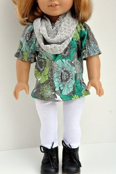 American Girl Doll Clothes Green and Gray Floral by CircleCSewing, $15.00