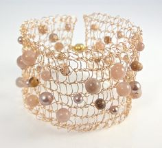 Knitted Wire Bracelet 'Moroccan Desert'  Gold by PollyAJewellery, $60.00 #aMoroccanDay #shifttonature