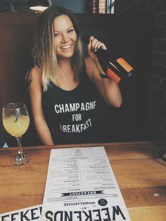 Champagne For Breakfast Razor Back Tank/ by PinkPineappleShoppe