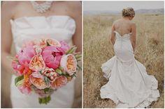 ruffled wedding gown + spring coral wedding bouquet