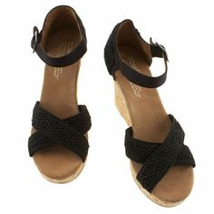 Womens Black Toms Strappy Wedge Sandals | schuh