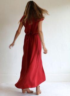 Jesse Kamm Capsleeve Dress - Scarlet Begonia