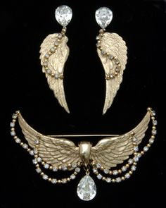 Learn How Much Your Vintage Costume Jewelry is Worth: Napier Vintage Wings Brooch and Earring Set