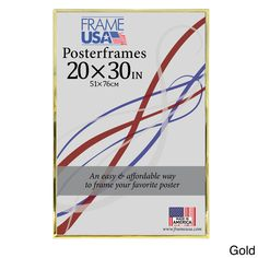 USA Hardboard Poster Frame (20 x 30-inch Image Size) (Gold, 20x30) (Plastic)