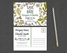 Botanical Postcard-Style Save the Date / Hand by MaddieMaeCreative