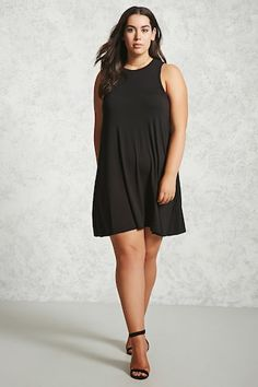 4efbf238c3 Forever 21+ - A knit swing dress featuring a crew neck and sleeveless cut.