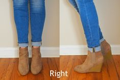 Fashion board for Rose Do You Know How to Wear Ankle Boots and Cuffed Jeans? Ankle Boots With Jeans, How To Wear Ankle Boots, Wedge Ankle Boots, Boot Heels, Rolled Jeans, Cuffed Jeans, Wedge Booties Outfit, Short Boots Outfit, Wedges Outfit
