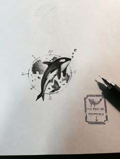 Killer Whale With Earth Compass Tattoo Design , Tattoo Idea  From Blue Whale Ink Design by _park_tae_  Work In Korea, Seoul, Hongdae Kakao: taemin0509 Insta: _park_tae_ Email: hopetaemin@naver.com Phone: 010.9922.2511 #Bluewhaleink