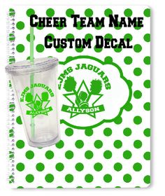 Cheer Team Decal Custom Name Cheer Sticker for use on Car, Tumbler, Spiral Notebook, Tablet, Laptop, iPad, Mirror by rockpaperscissors24 on Etsy