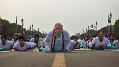You don't expect to see world leaders getting down on all fours to perform yoga in public, let alone in a mass yoga class that draws observers from Guinness World Records. But India's Narendra Modi did just that when he launched International Yoga Day on Rajpath, the central Delhi mall that represents the nerve center of power in India. (June 2015)