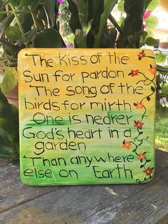 Handcrafted Yellow/green square cement plaque with poem