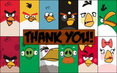 Angry Birds, Printable, Free, Valentine's Day, Thank You Card