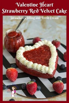 Celebrate Valentine's Day with Valentine Heart Cake Recipe made with a naked Red Velvet Cake with strawberry filling and whipped cream frosting #valentine #day #heart #cake #red #velvet Best Cake Recipes, Cupcake Recipes, Cupcake Cakes, Cupcakes, Cake Cookies, Dessert Recipes, Favorite Recipes, Strawberry Filling, Strawberry Cakes