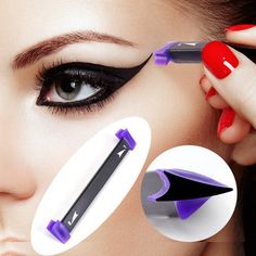 "The vamp stamp ""makeup stamp"" can help you to perfect your winged eyeliner with an incredibly simple one-handed hack. Get perfectly winged liner in seconds! Cat Eye Eyeliner, Winged Eyeliner Stamp, Best Eyeliner, How To Apply Eyeliner, Winged Liner, Pencil Eyeliner, Eye Makeup, Cat Eyes, Makeup Ideas"