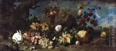 Flowers, fruits and a white rabbit, 1707 - Franz Werner von Tamm - Oil Painting Reproductions Art Floral, Thanksgiving Flowers, Composition, Wild Photography, Queer Art, Poster Prints, Art Prints, Types Of Art, Type Art