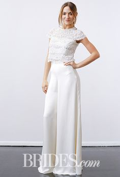 "Brides.com: . ""Cosima Top and Castilia Trousers"" two piece pants and top combination with a lace top and satin wide-leg pants, Temperley"
